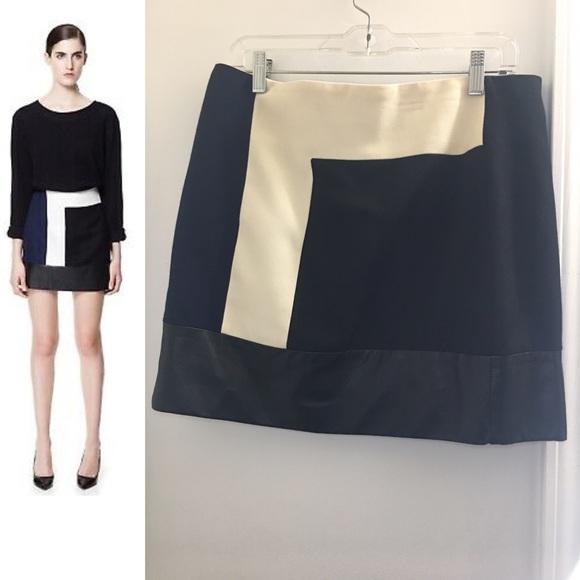 Zara Dresses & Skirts - Zara Navy Cream & Black Lambskin Skirt | Large